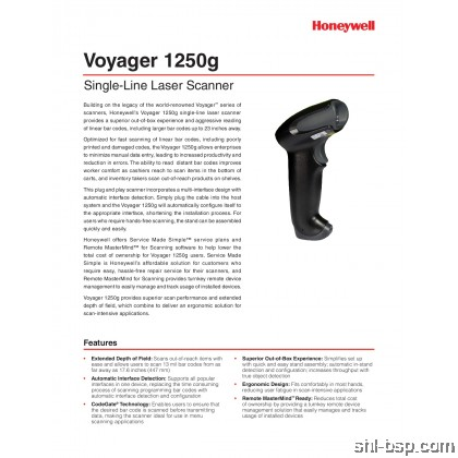 Honeywell Voyager 1250G Single-Line Laser Scanner 1D