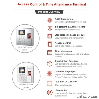 HIKVISION Fingerprint Time Attendance DS-K1T8003 Series