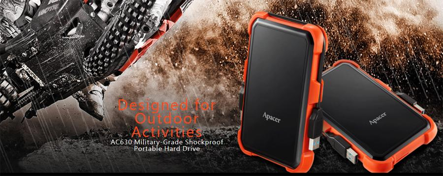 Apacer AC630 1TB External Hard Drive Disk (HDD) USB 3.1 Military Grade Shockproof